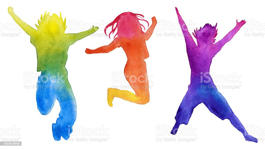 Set of children silhouettes in colors. design elements. children...