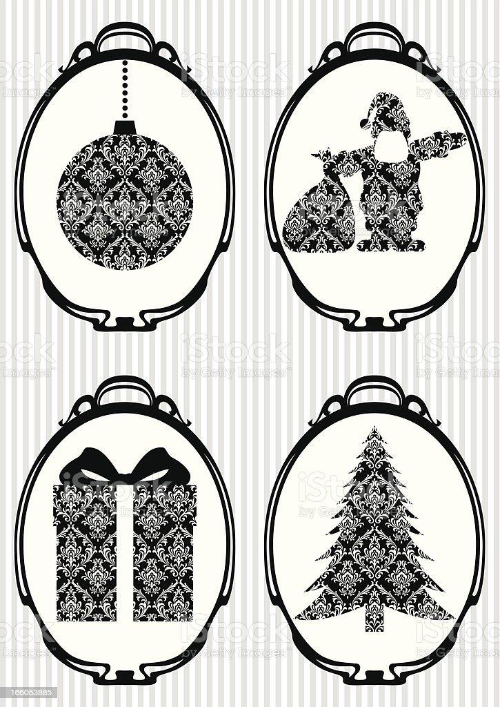 Set of Christmas Retro Icons royalty-free stock vector art