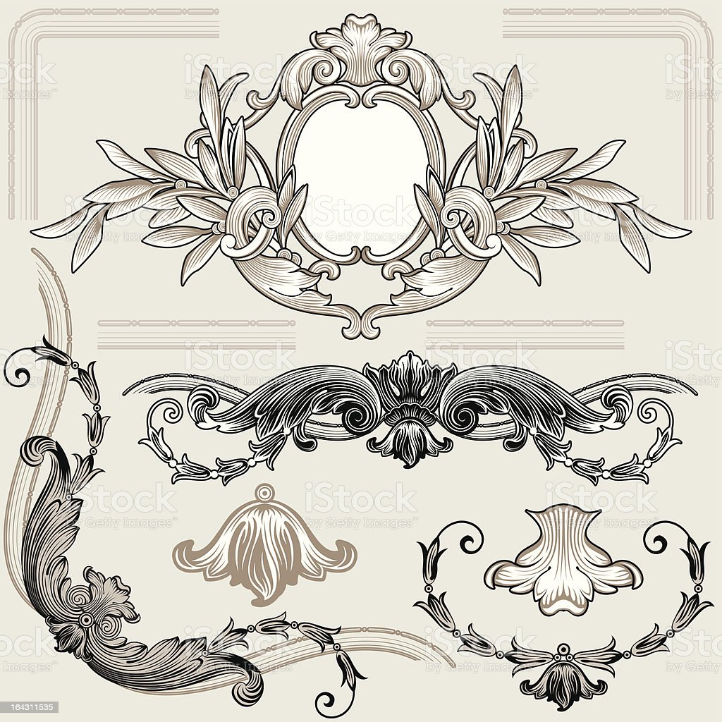 Set Of Classic Floral Decoration Elements royalty-free stock vector art