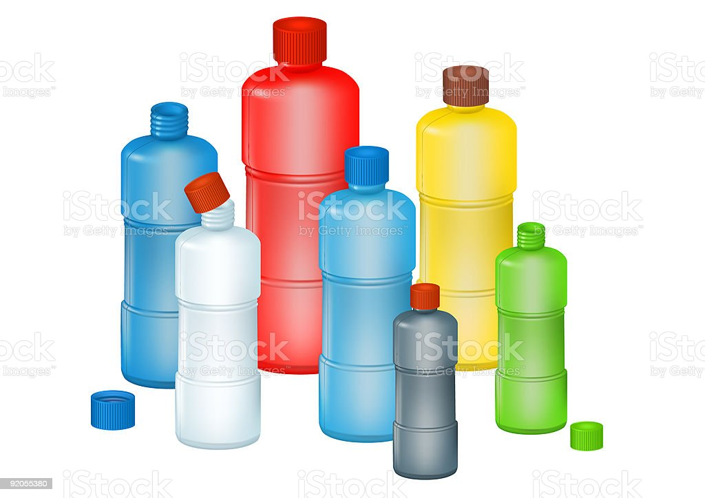 Set of color plastic bottles on a white background. royalty-free stock vector art