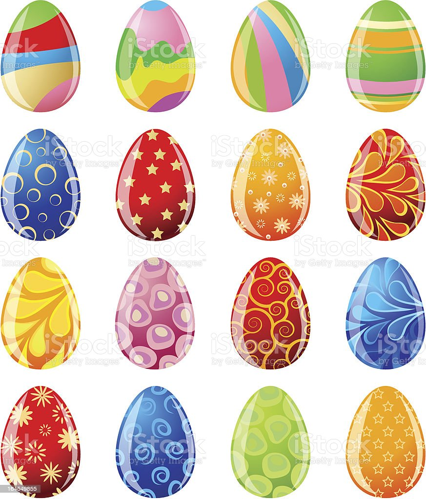 Set of colored Easter eggs royalty-free stock vector art