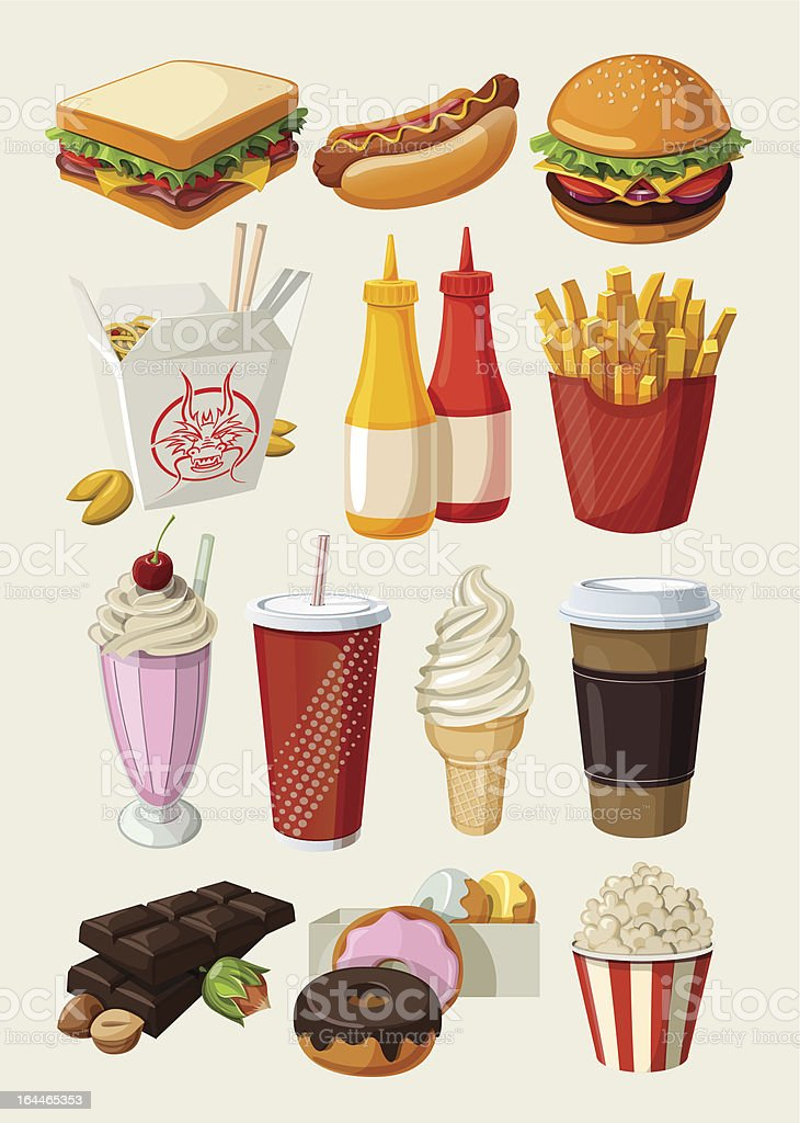 Set of colorful cartoon fast food icons. vector art illustration