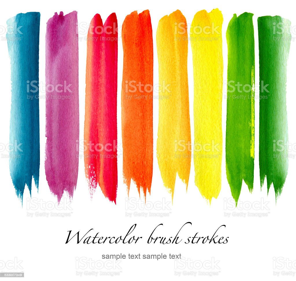 Set of colorful watercolor brush strokes vector art illustration