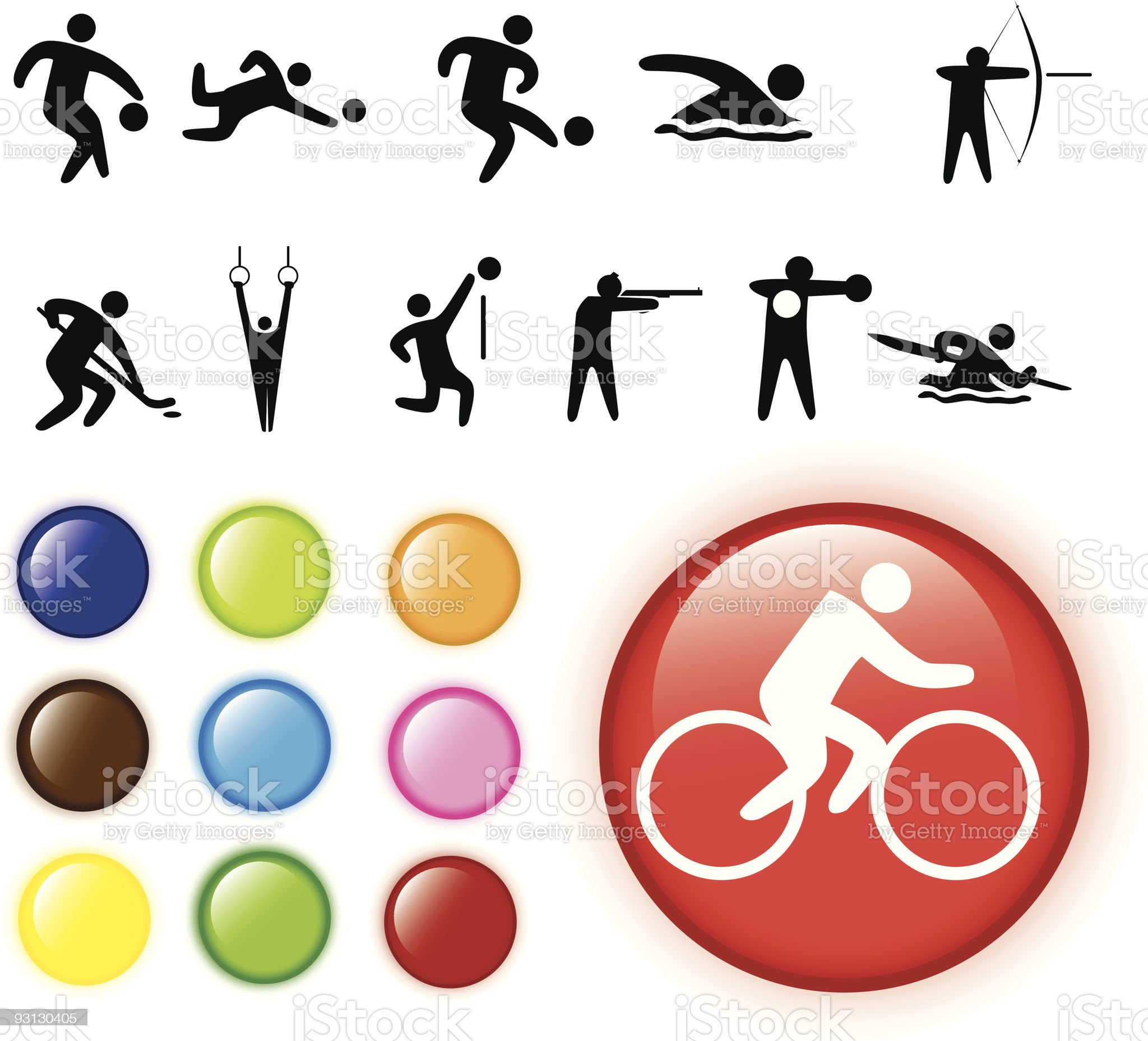 Set of coloured buttons and sport icons royalty-free stock vector art