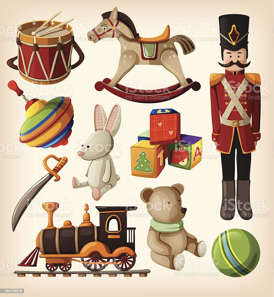 Set of colourful vintage christmas toys for kids. vector art illustration