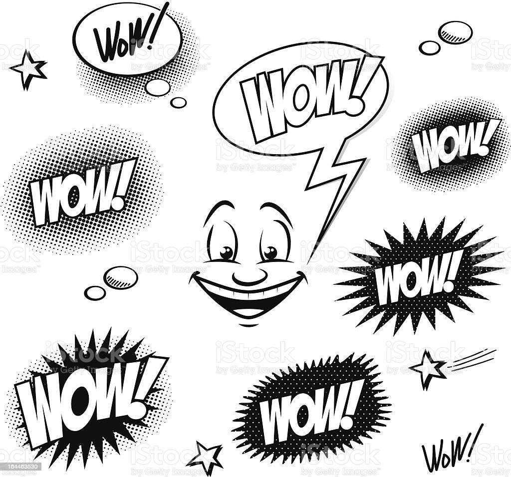 Set of comic book wow for your design royalty-free stock vector art