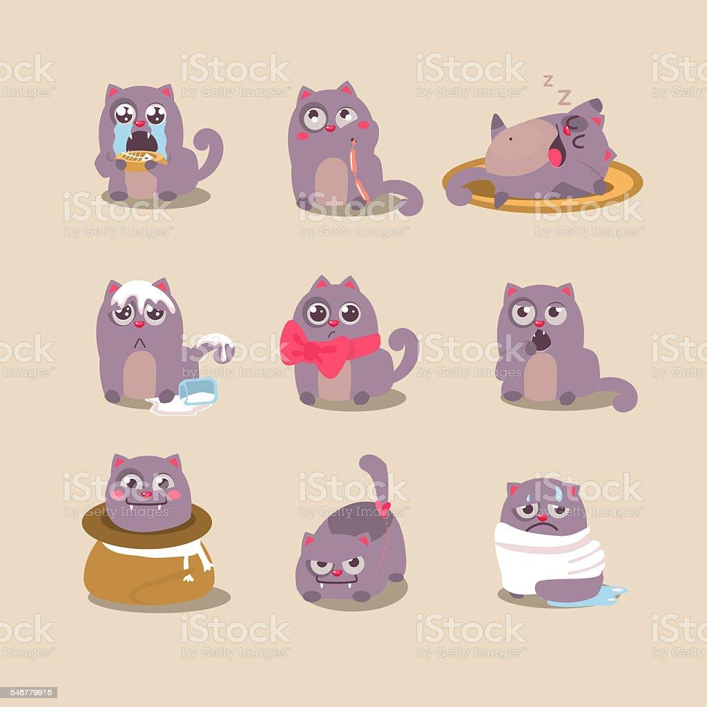 Set of Cute Cartoon Cat in Various Poses vector art illustration
