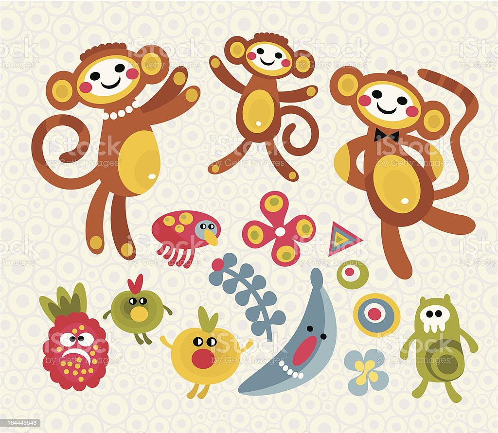 Set of cute fruits and animals. royalty-free stock vector art