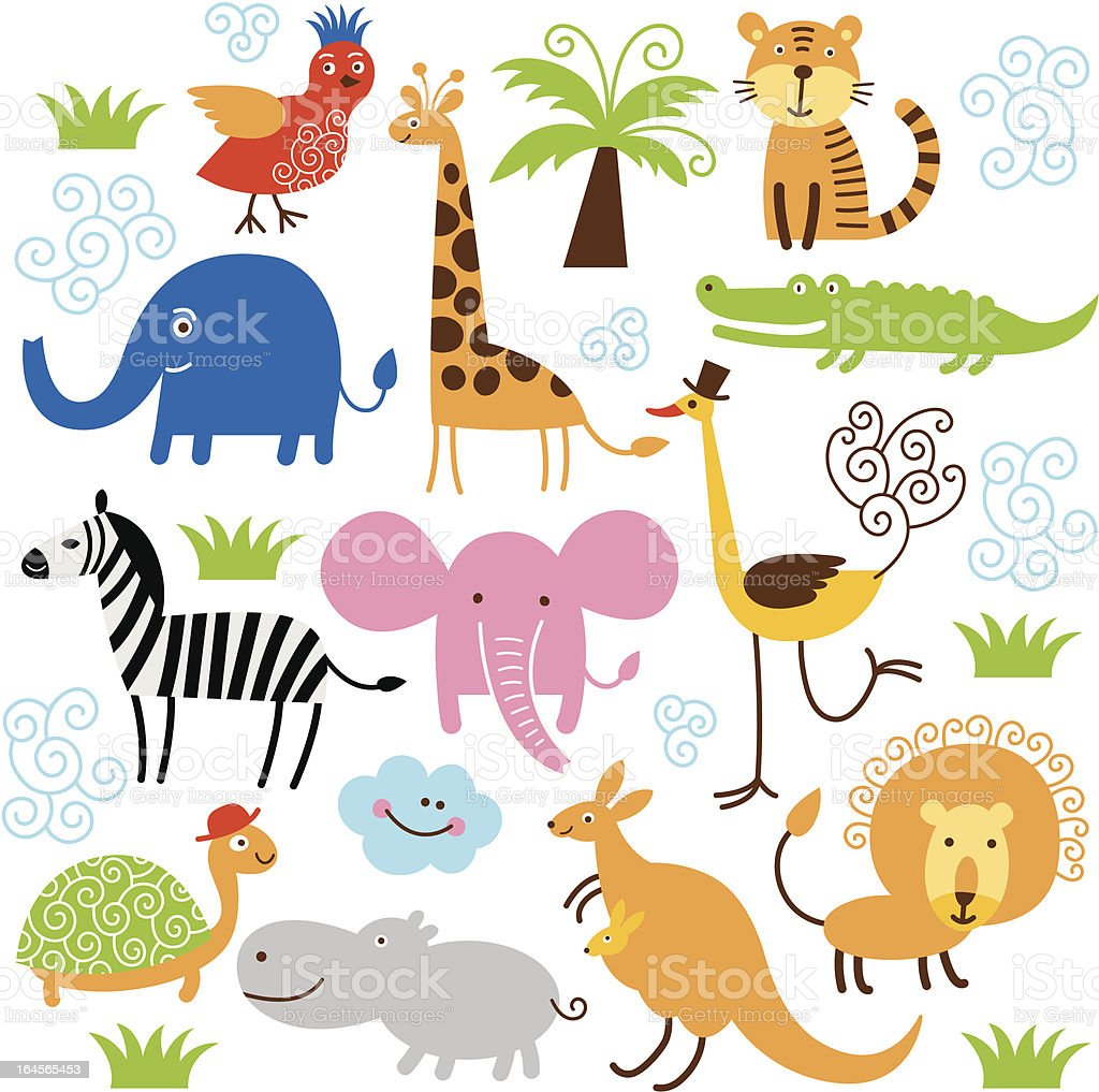 set of cute vector animals vector art illustration