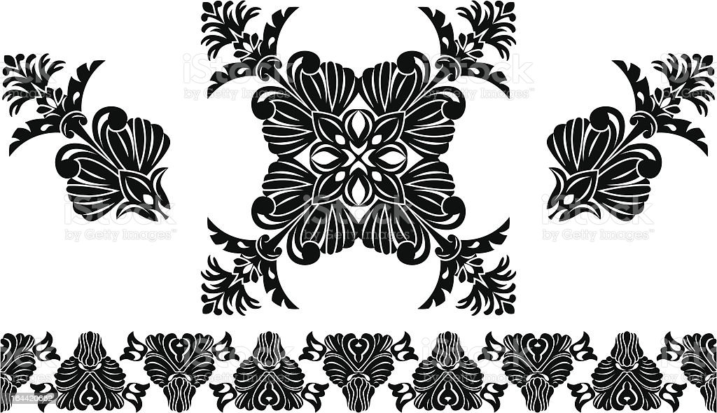 Set of decorative elements, border and flower patterns royalty-free stock vector art