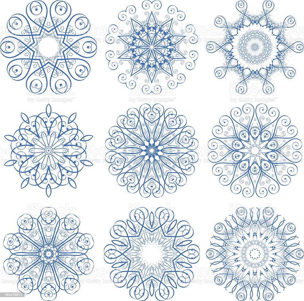 Set of decorative rosettes royalty-free stock vector art