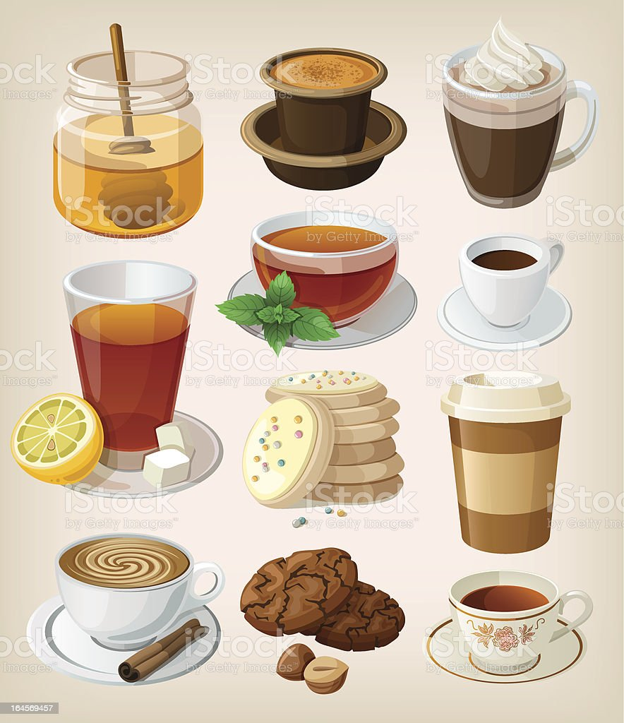 Set of delicious hot drinks and supplies vector art illustration
