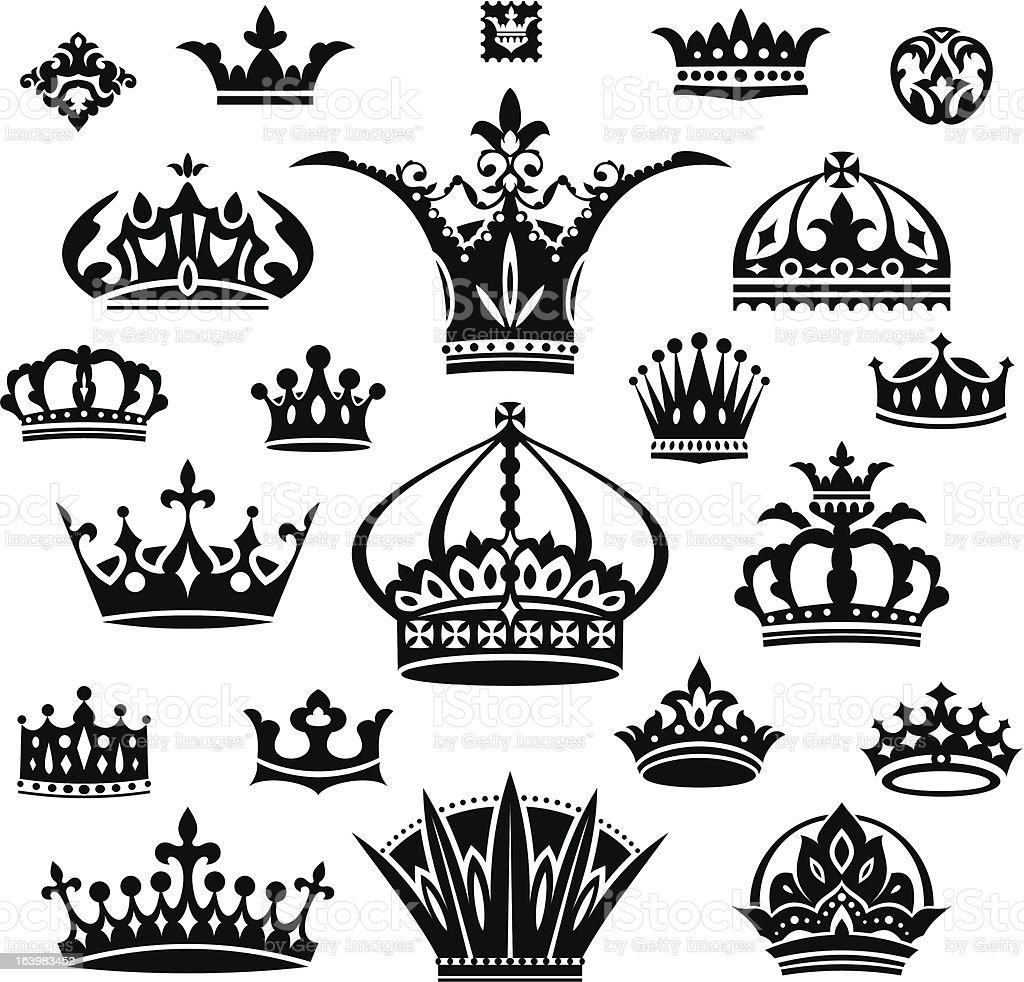 set of different crowns vector art illustration