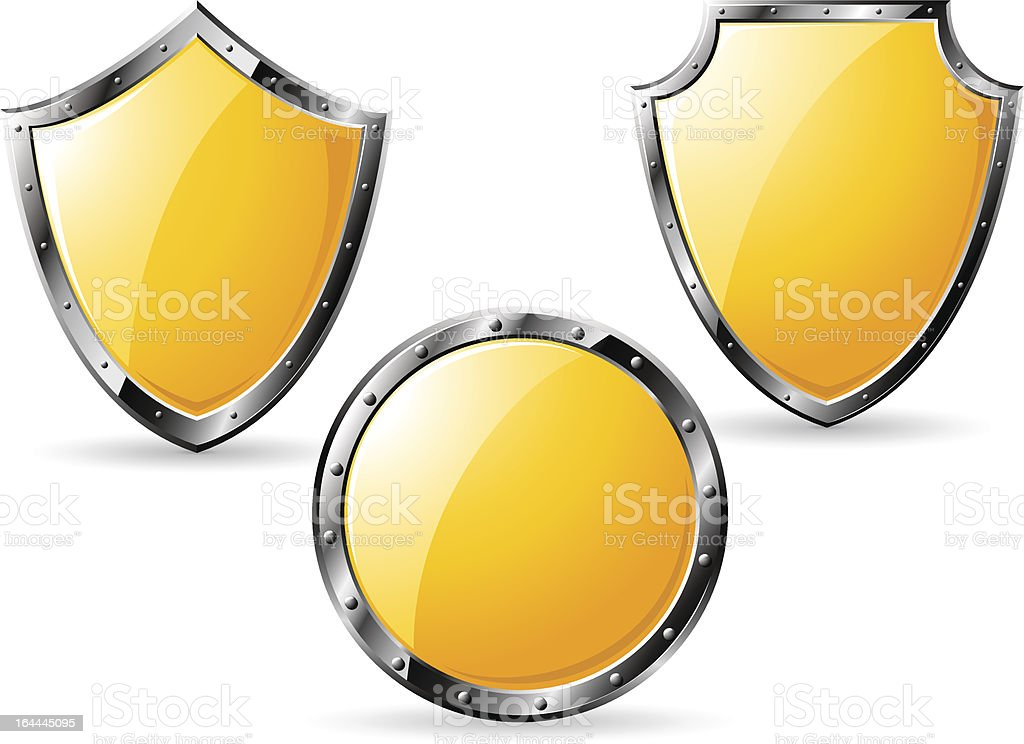 Set of different yellow shields isolated on white vector art illustration
