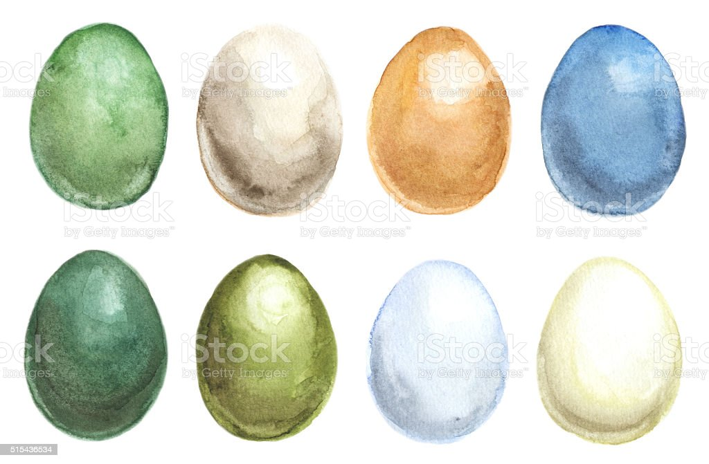 Set of Easter eggs vector art illustration