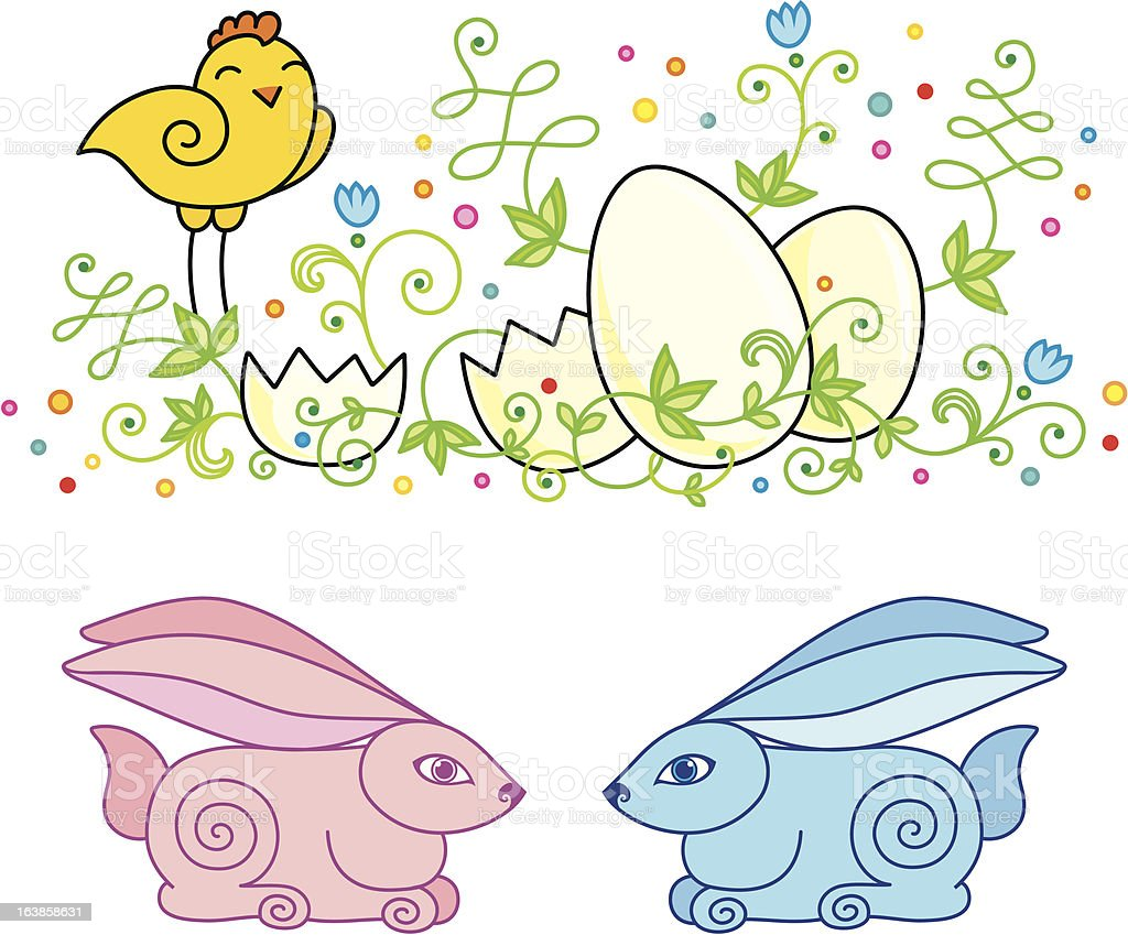 Set of easter pictures vector art illustration