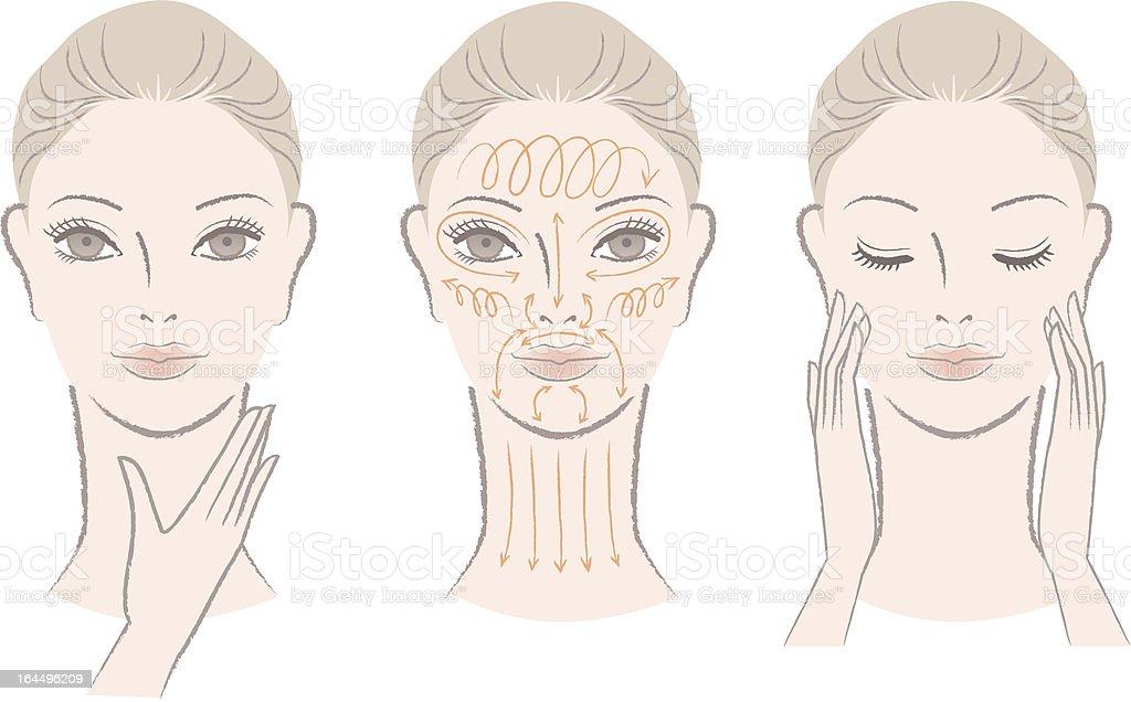 Set of elegant woman massaging her face and neck vector art illustration