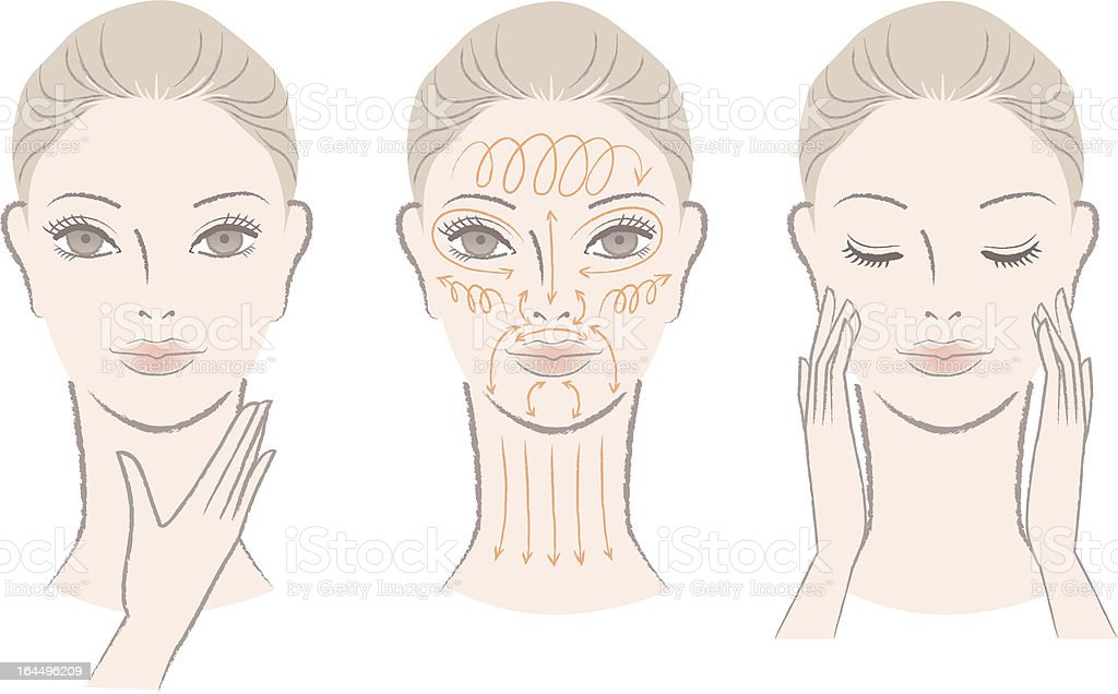 Set of elegant woman massaging her face and neck vector art illustration