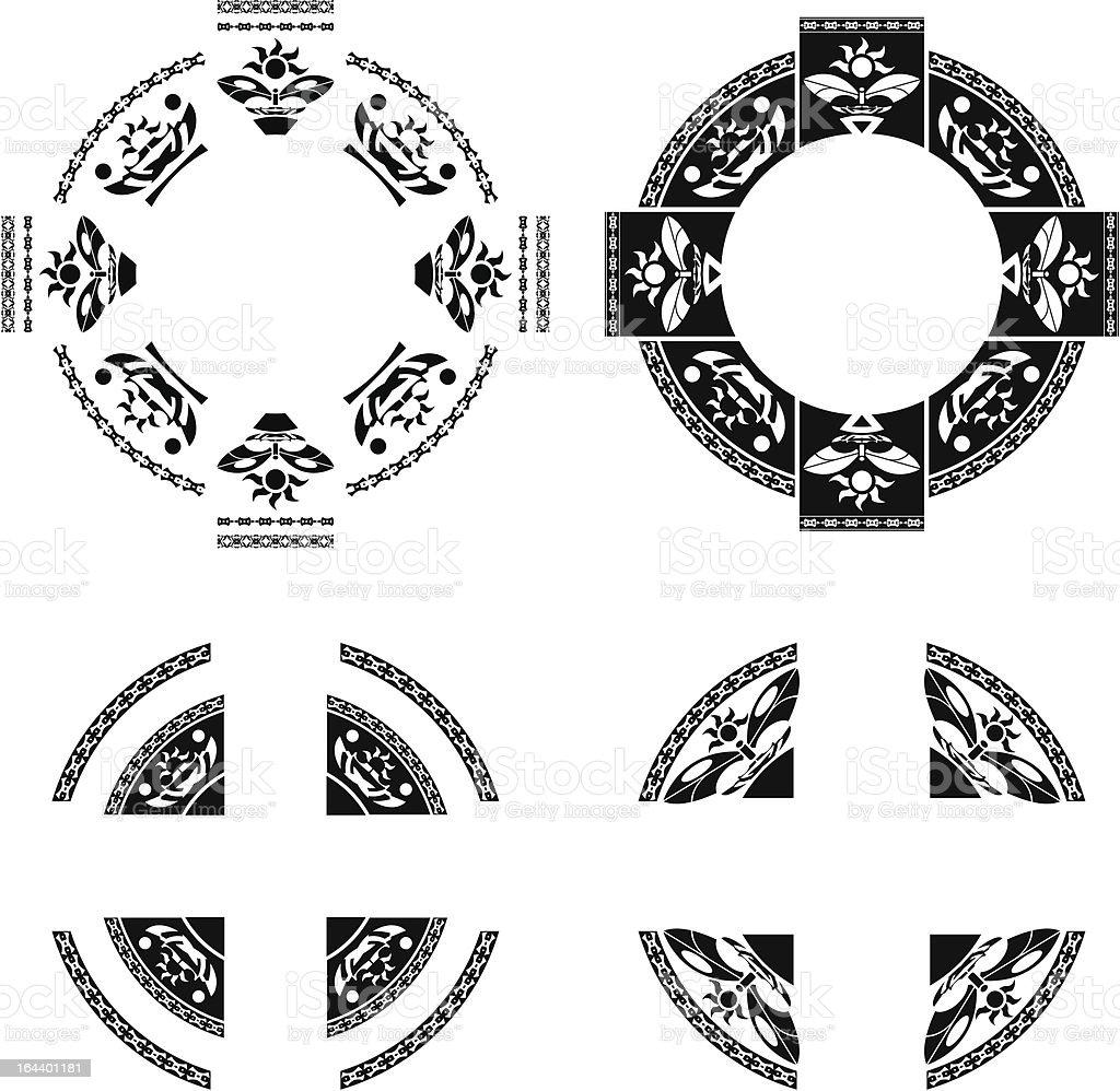 set of fantasy rings royalty-free stock vector art