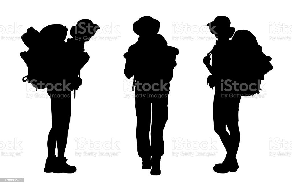 set of female backpacker silhouettes royalty-free stock vector art