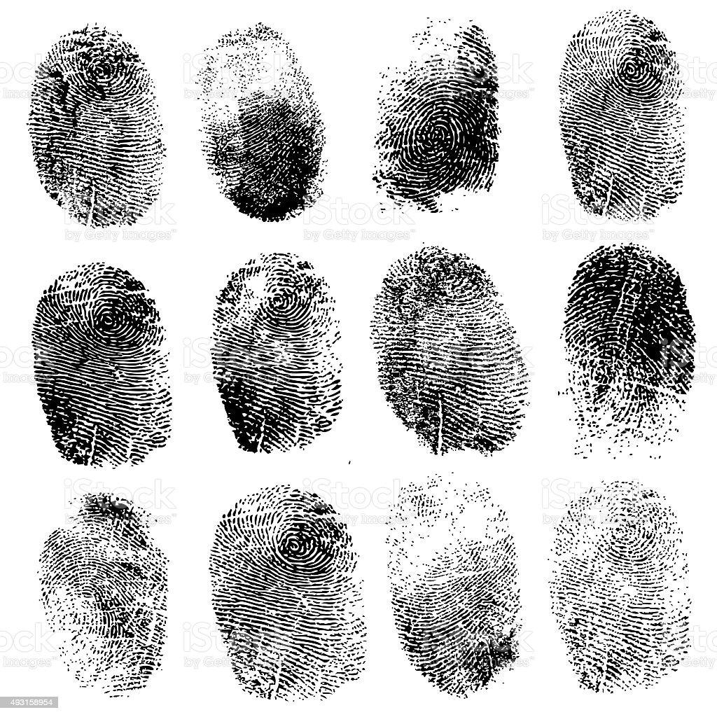 Set of fingerprints, illustration vector art illustration
