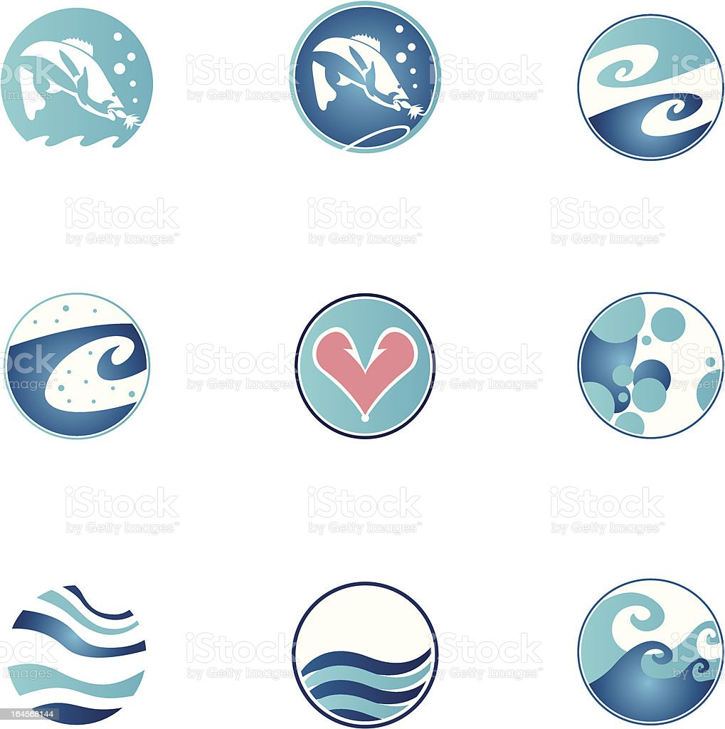 Set of fishing icons royalty-free stock vector art