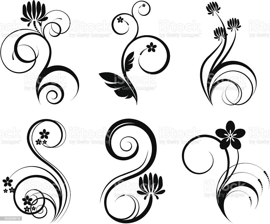 Ensemble d'éléments de florales stock vecteur libres de droits libre de droits
