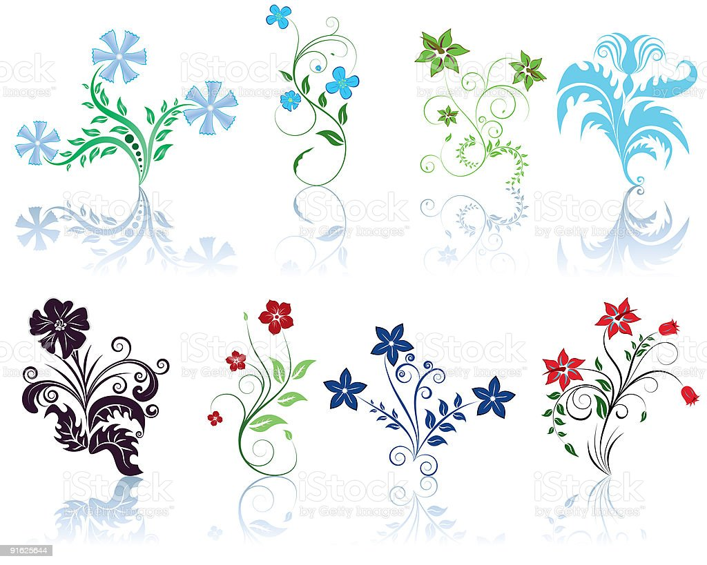 set of flowers royalty-free stock vector art