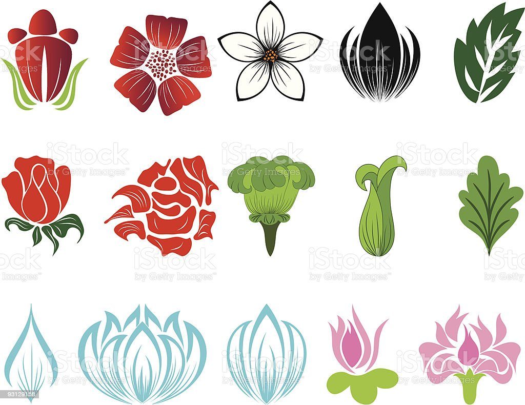set of flowers royalty-free stock vector art