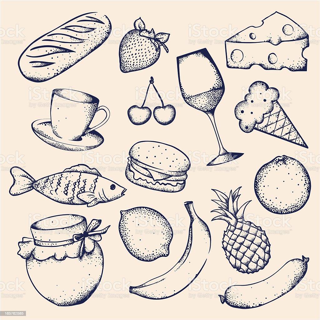 Set of food vector art illustration