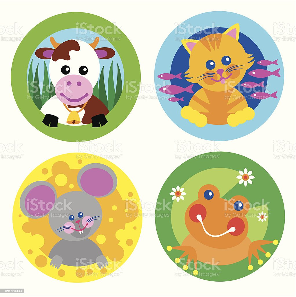 set of four farm theme animals vector art illustration
