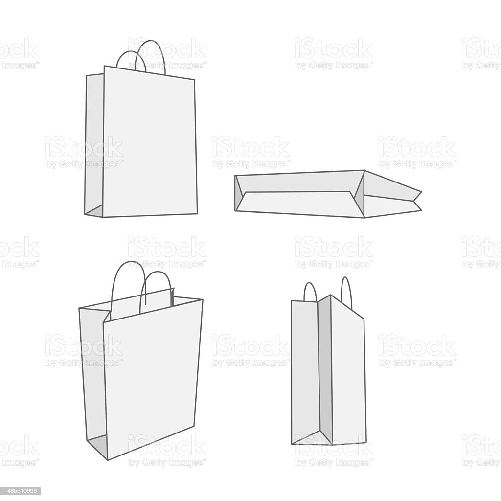 Paper bag sketch - Set Of Four Graphic White Paper Bag Royalty Free Stock Vector Art