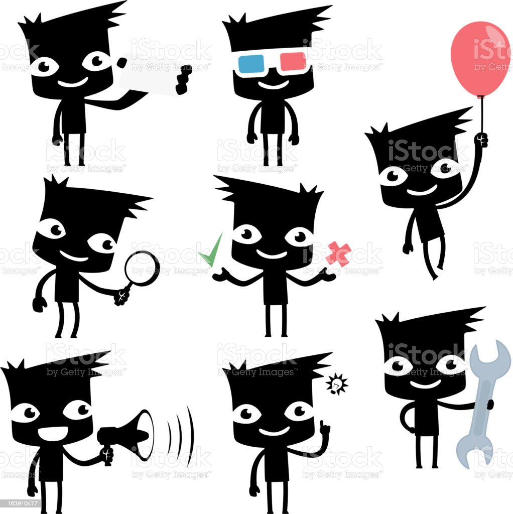 set of funny cartoon man royalty-free stock vector art