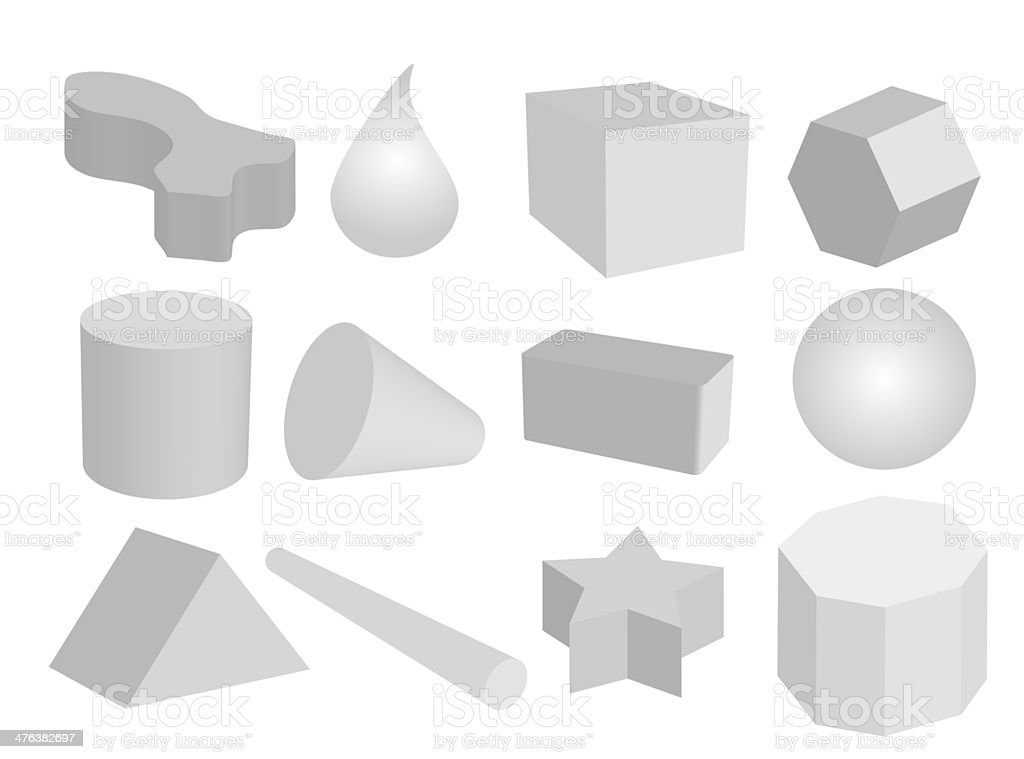 Set of Geometric Objects in Grey Colors royalty-free stock vector art