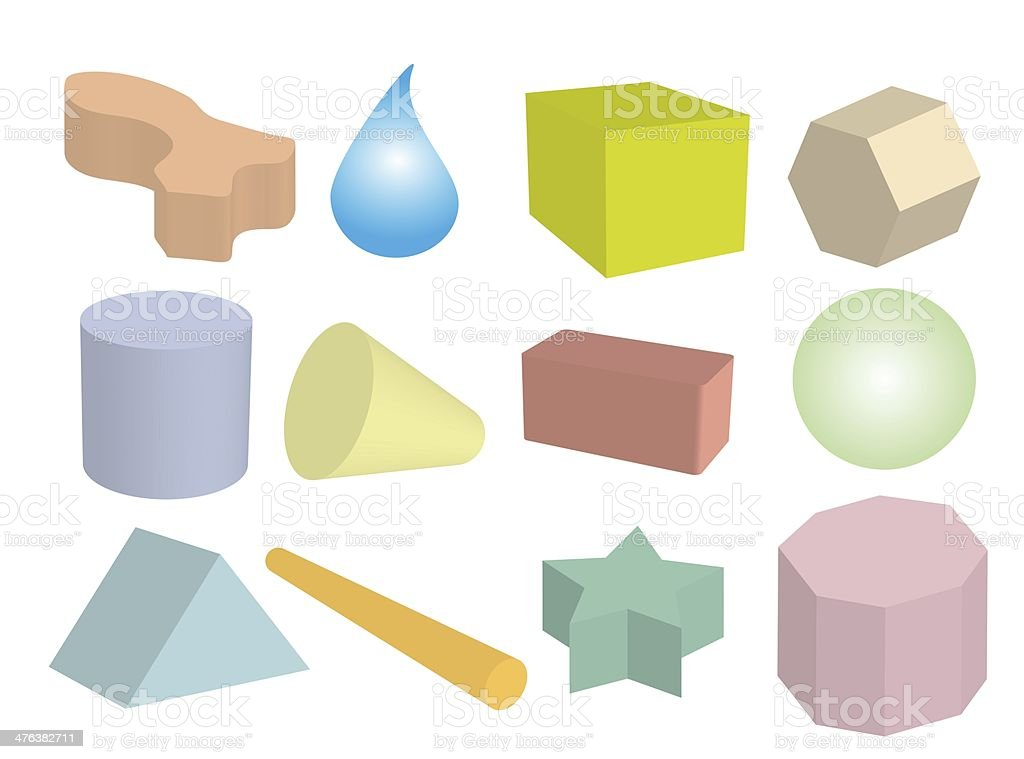 Set of Geometric Objects in Multi Colors royalty-free stock vector art