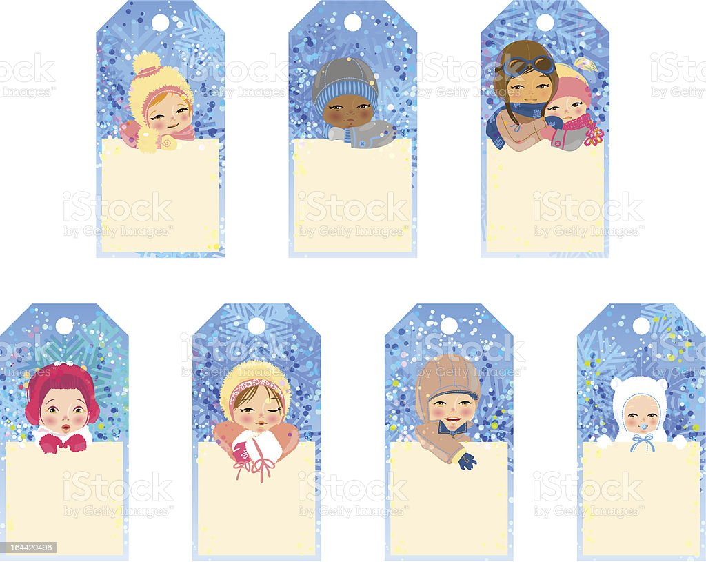 Set of gift tags with children royalty-free stock vector art