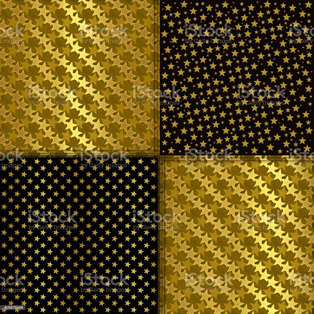 Set of gold glittering stars vector art illustration