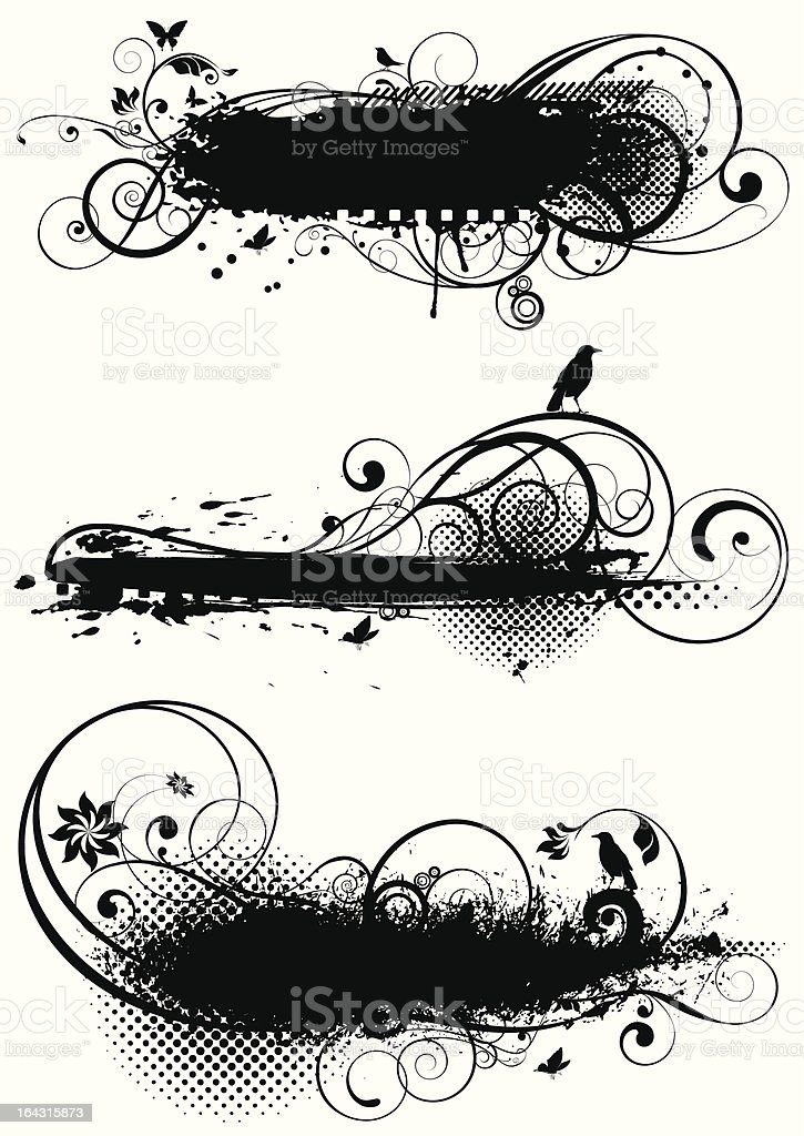 Set of grunge floral designs royalty-free stock vector art