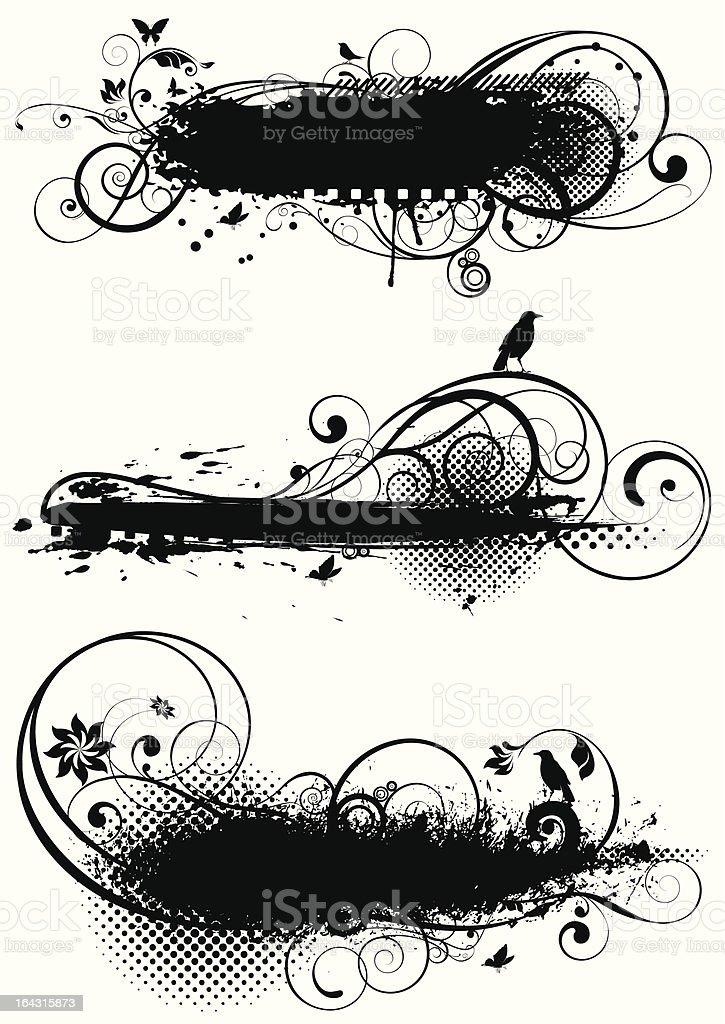 Set of grunge floral designs vector art illustration