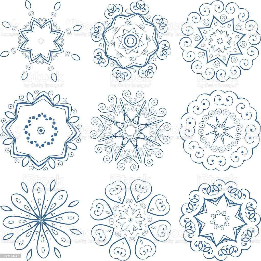 Set of guilloche rosettes royalty-free stock vector art