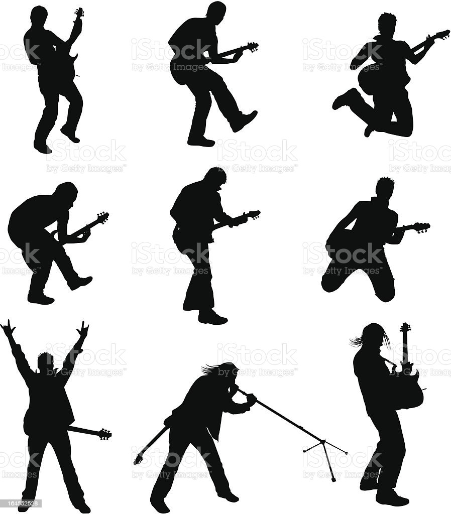 Set of Guitarist Silhouette vector art illustration