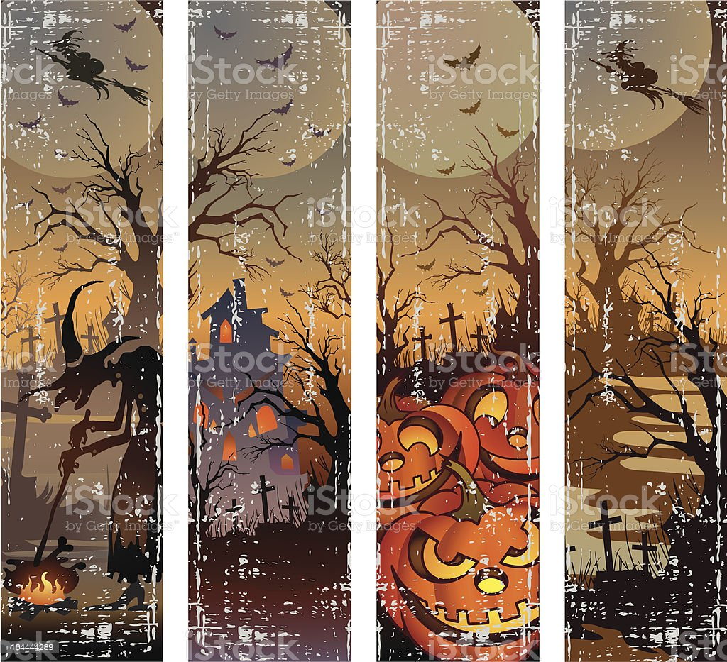 Set of  halloween banners royalty-free stock vector art