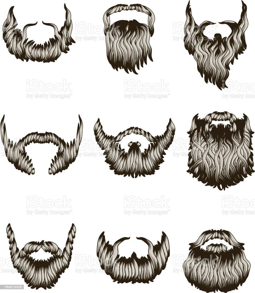 Set of hand drawn beards vector art illustration