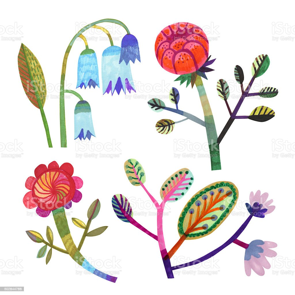 Set of hand drawn flowers and plants vector art illustration