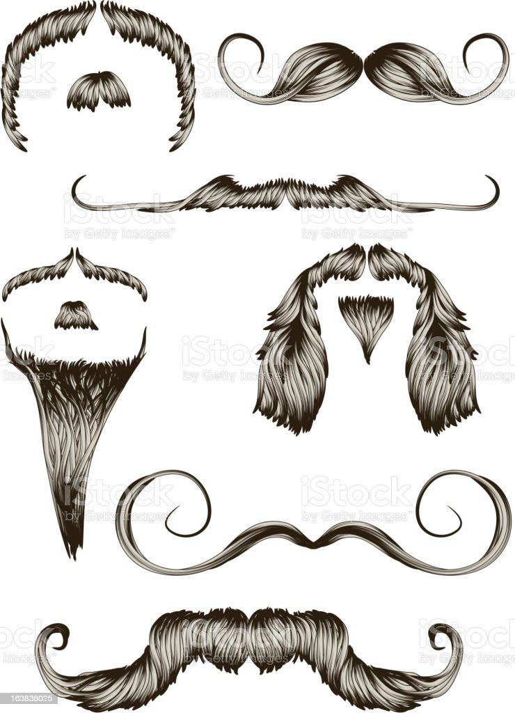 Set of hand drawn mustaches royalty-free stock vector art
