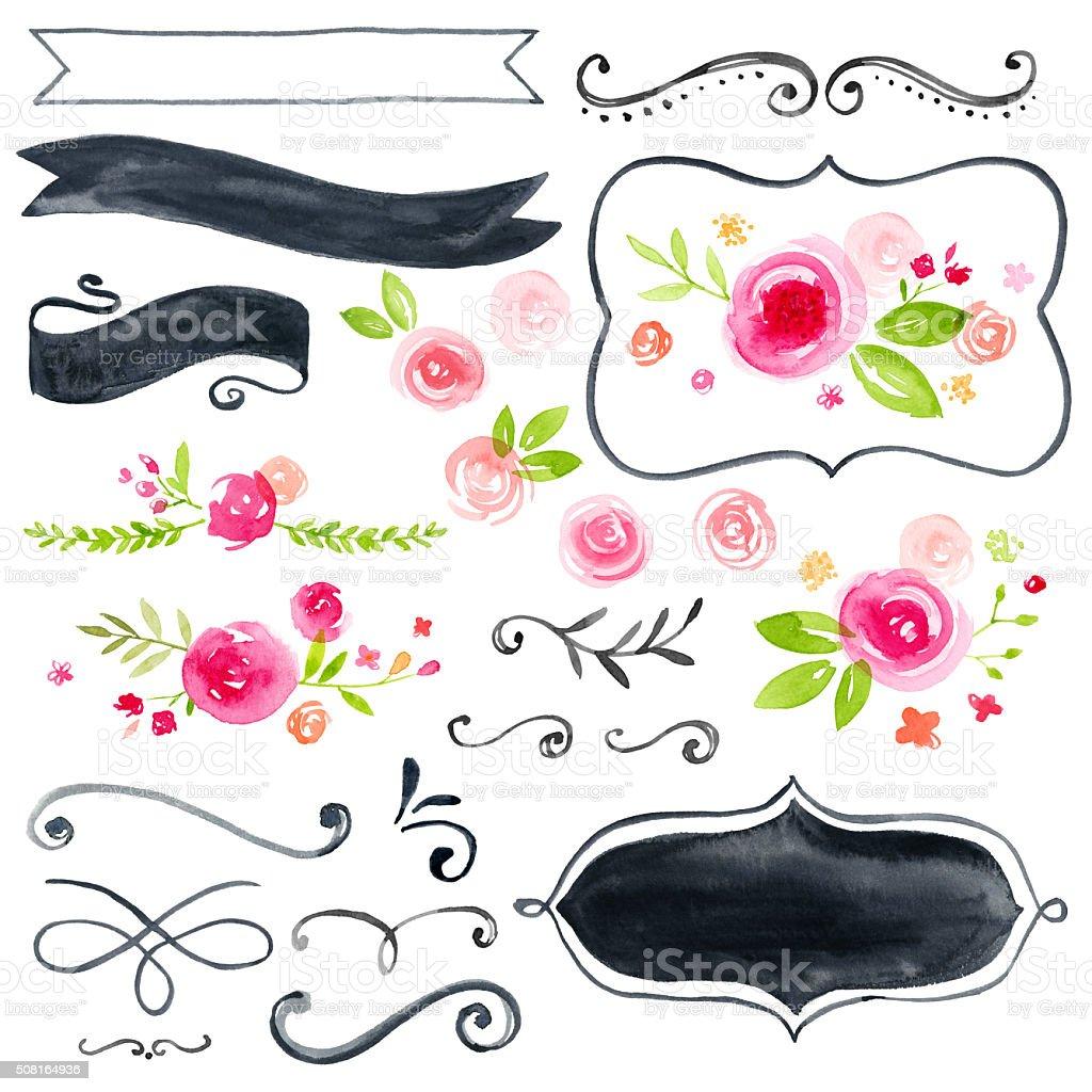 Set of Hand Painted Watercolor Flower Design Elements vector art illustration