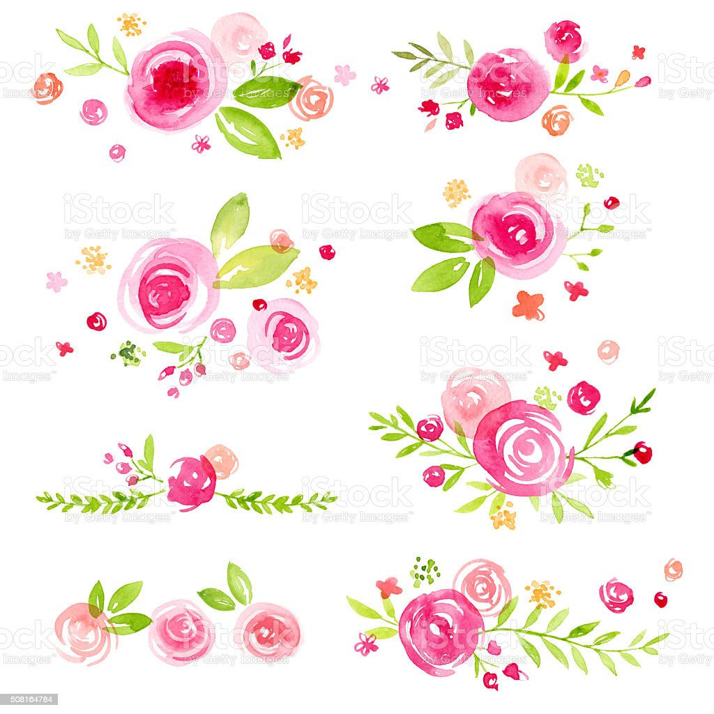 Set of Hand Painted Watercolor Flower Groupings vector art illustration