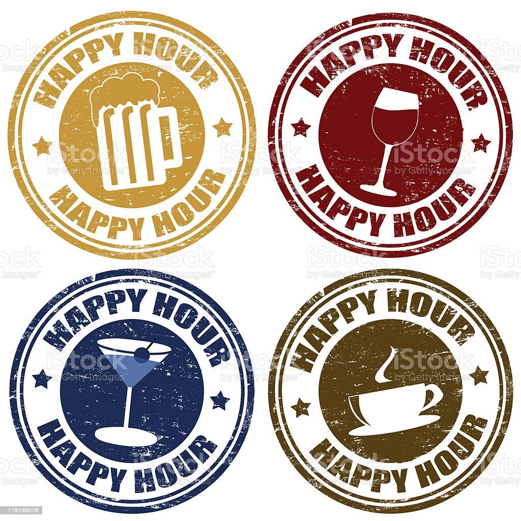 Set of happy hour  stamps vector art illustration
