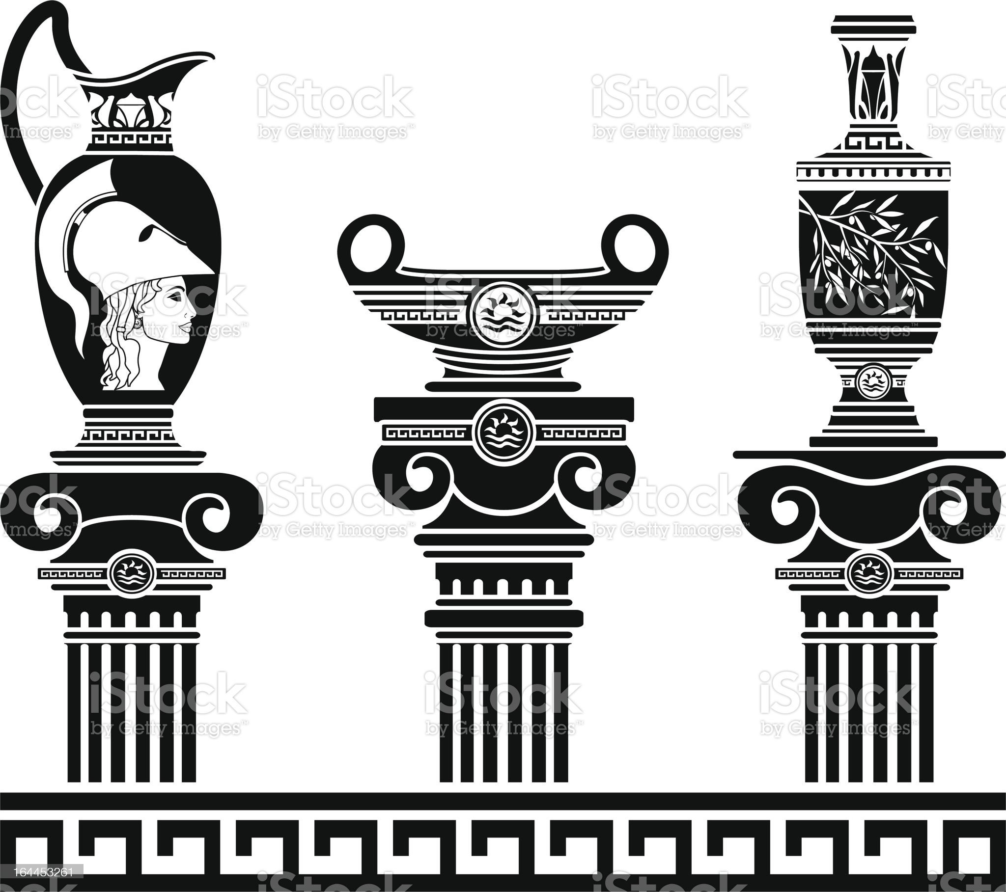 set of hellenic vases and ionic columns royalty-free stock vector art