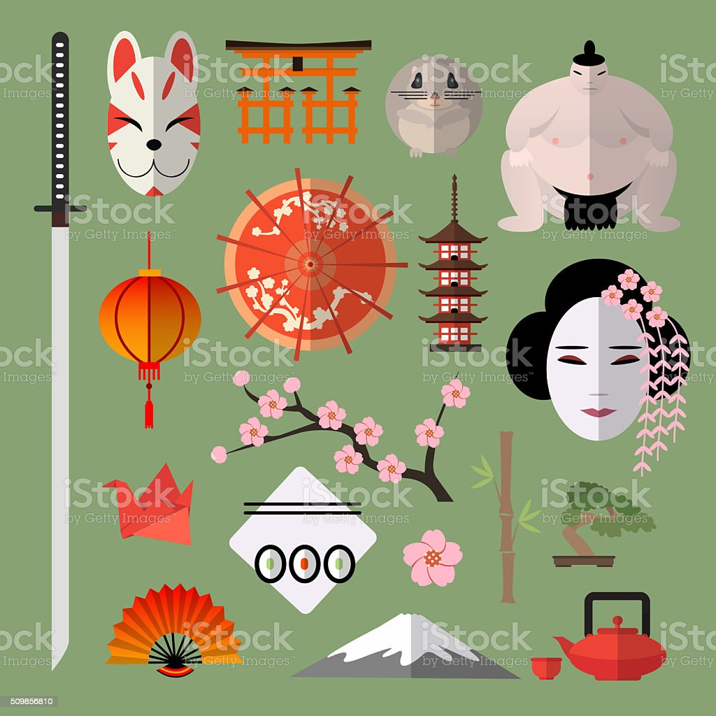 Set of icons with japanese elements vector art illustration